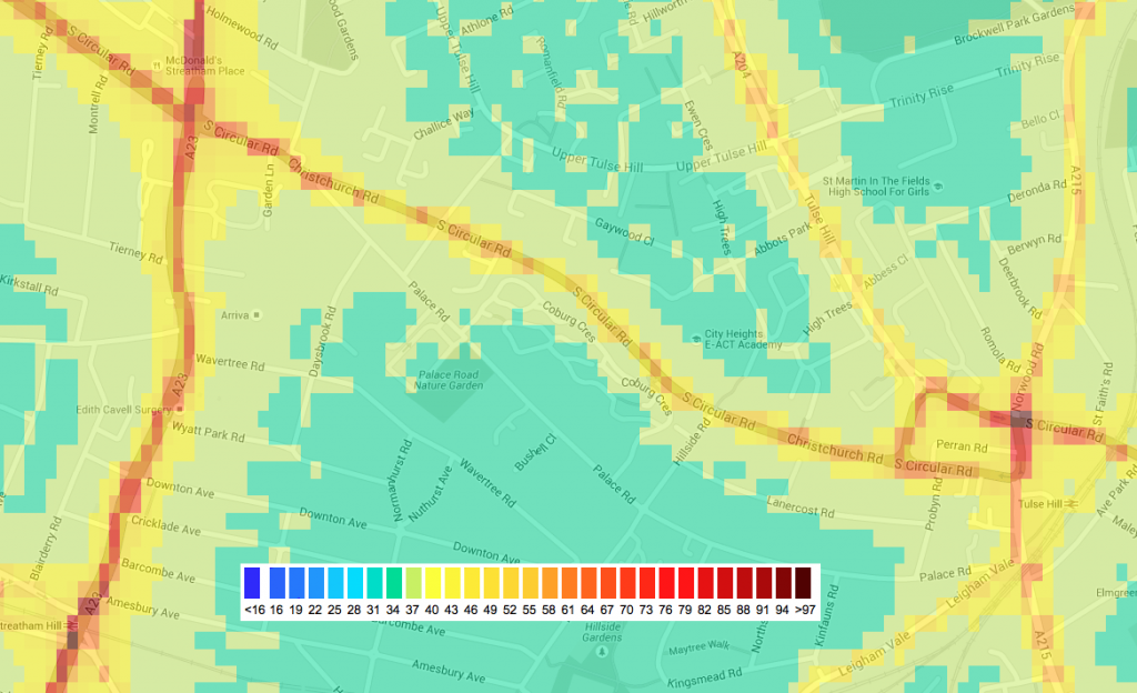 NO2 pollution map