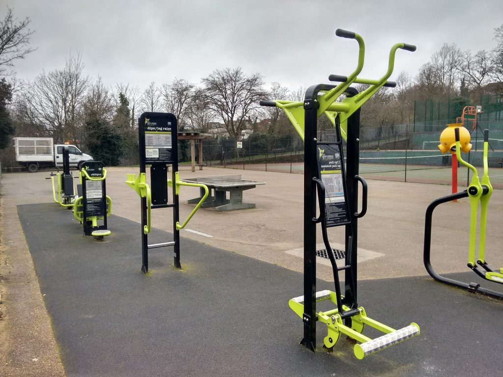Similar gym equipment installed at Hillside Gardens Park. Our will be dark green and grey.