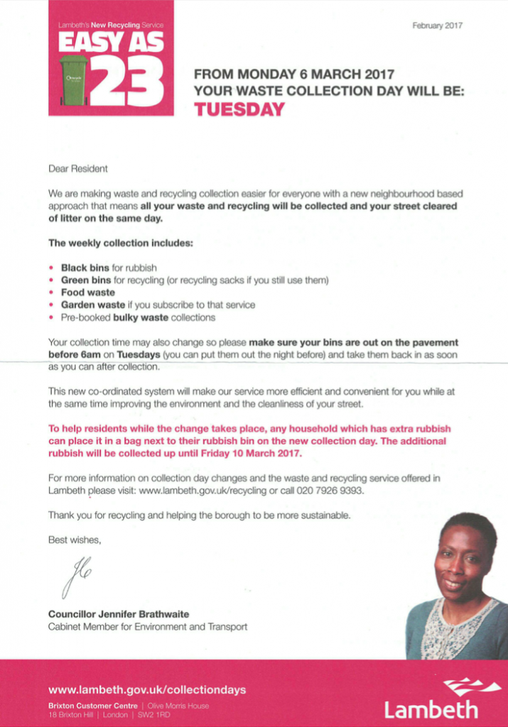 The letter informing Coburg Crescent residents that the rubbish and recycling collection day would now be Tuesday.
