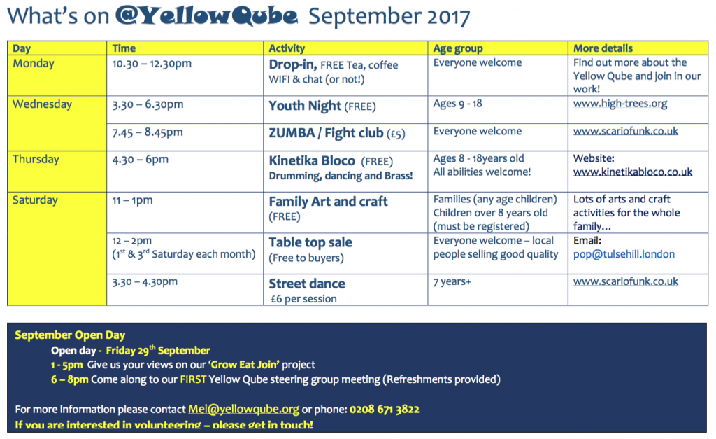 Yellow Qube programme for September 2017. Click to download PDF.