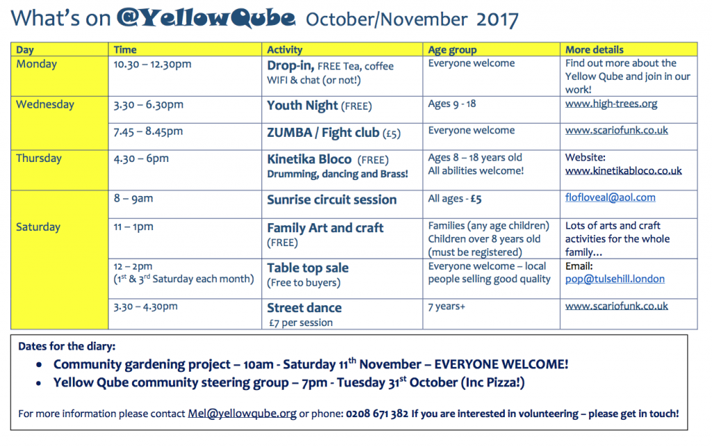 Events programme for October and November. Click to download a PDF.