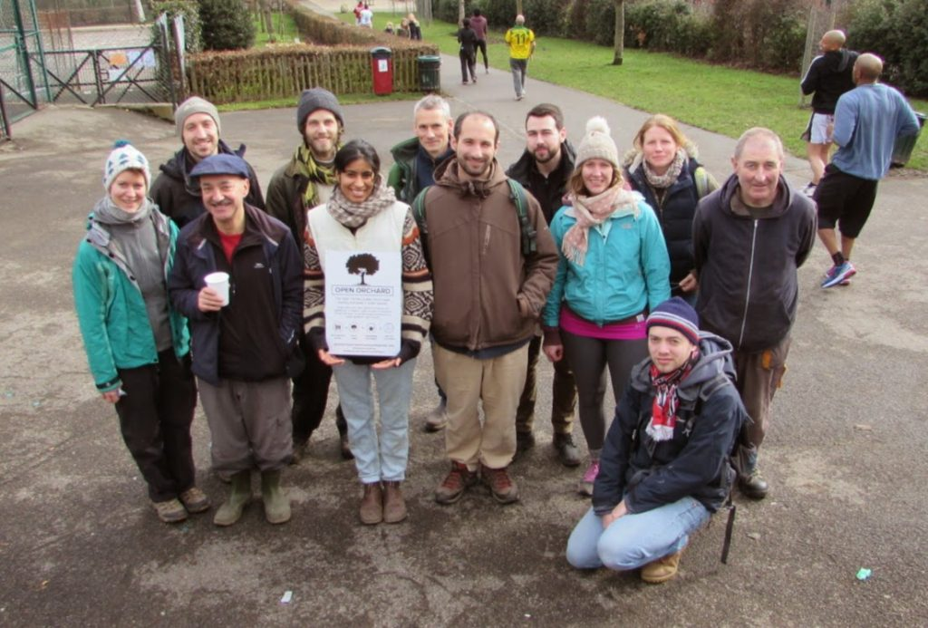 A group of volunteers after planting fruit trees in Hillside Gardens Park