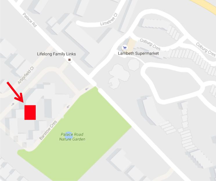 Map showing the location of Laburnum Hall